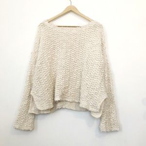 Free People Textured Cream Knit Pullover Sweater